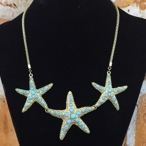 Starfish Necklace Gold  tone Robin Egg Blue 21 in